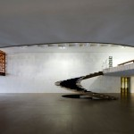 View of the sculptural staircase to the circular mezzanine