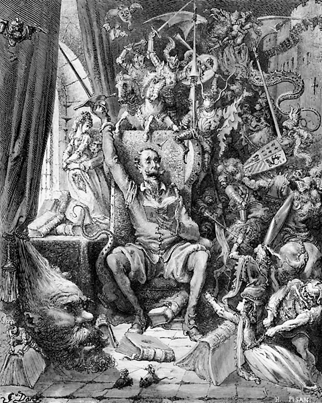 B0E9T8 Engraving of Gustave Dore illustration of Don Quixote in his library